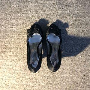 NINA Satin Open Toe Heels